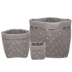 Panier Confetti Large gris foncé / doré