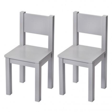 Chaises enfant x2 bois massif gris deco chambre activites for Chaise montessori