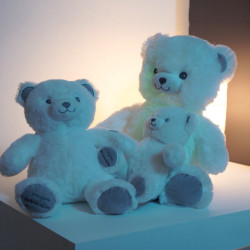 Peluche-Gaston-Ourson-Lumineux-Blanc-Gris-28cm-a-offrir
