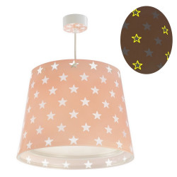 Phosphorescent hanging Lamp Stars PINK