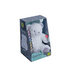 Peluche-Gaston-Ourson-Lumineux-Blanc-Gris-28cm-cadeau
