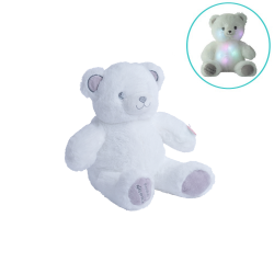 Peluche-Gaston-Ourson-Lumineux-Blanc-Gris-28cm