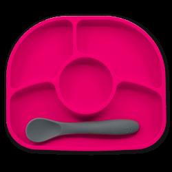 Yümi Assiette et cuillère en silicone Rose