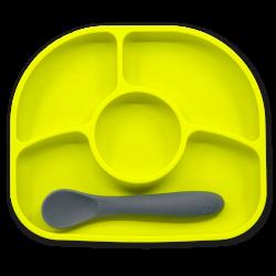 Assiette et cuillère en silicone Citron vert - Yümi