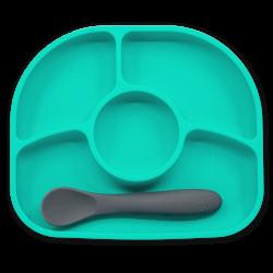 Yümi – Aqua silicone plate & spoon set