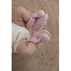 Chaussons hochet bébé Miffy - Velours rose