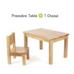 Ensemble Table et Chaise Enfant Montessori - Bois naturel
