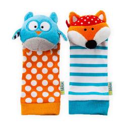 Chaussettes d'éveil-Marionnettes Düo - Hibou et Renard