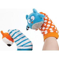 Chaussettes d'éveil-Marionnettes Düo - Hérisson et Raton-Laveur