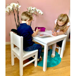 Table Enfant 4 - 7 ans - Bois Naturel Blanc