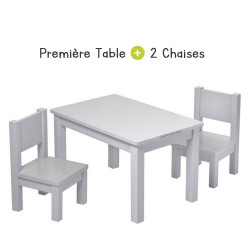 Ensemble Table et Chaises Enfant 1-4 ans Montessori - Gris perle