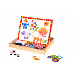 Coffret puzzle magnétique réversible 2 en 1 - Thème Ferme - 85 pièces