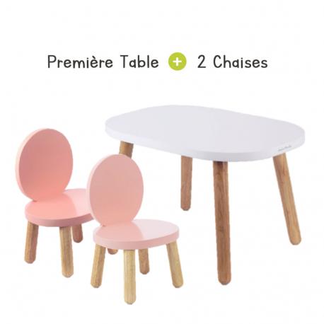 Ensemble Table Ovaline blanche et Chaises Ovaline Roses